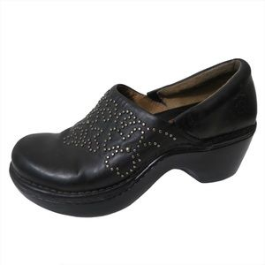 Ariat Strathmore Black Leather Clogs Slip On Bedazzled Western Silver Floral 6